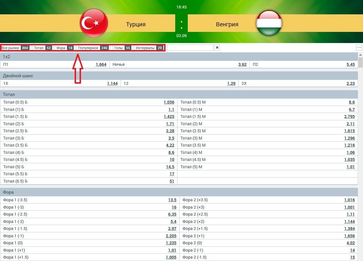 Рынки матча Турция - Венгрия в букмекерской конторе